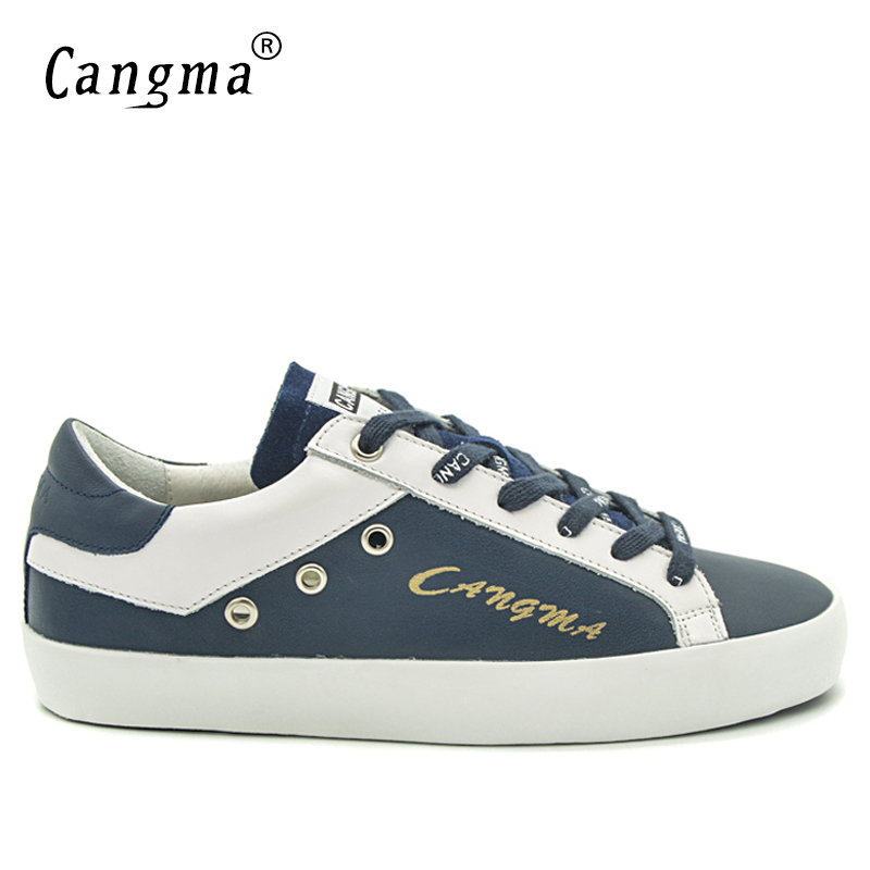 Image 2 - CANGMA British Brand Shoes Men Sneakers Vintage Navy Blue Man  Shoes Leather Genuine Male Shoe Adult Casual Latest Footwear 2017Mens  Vulcanize Shoes