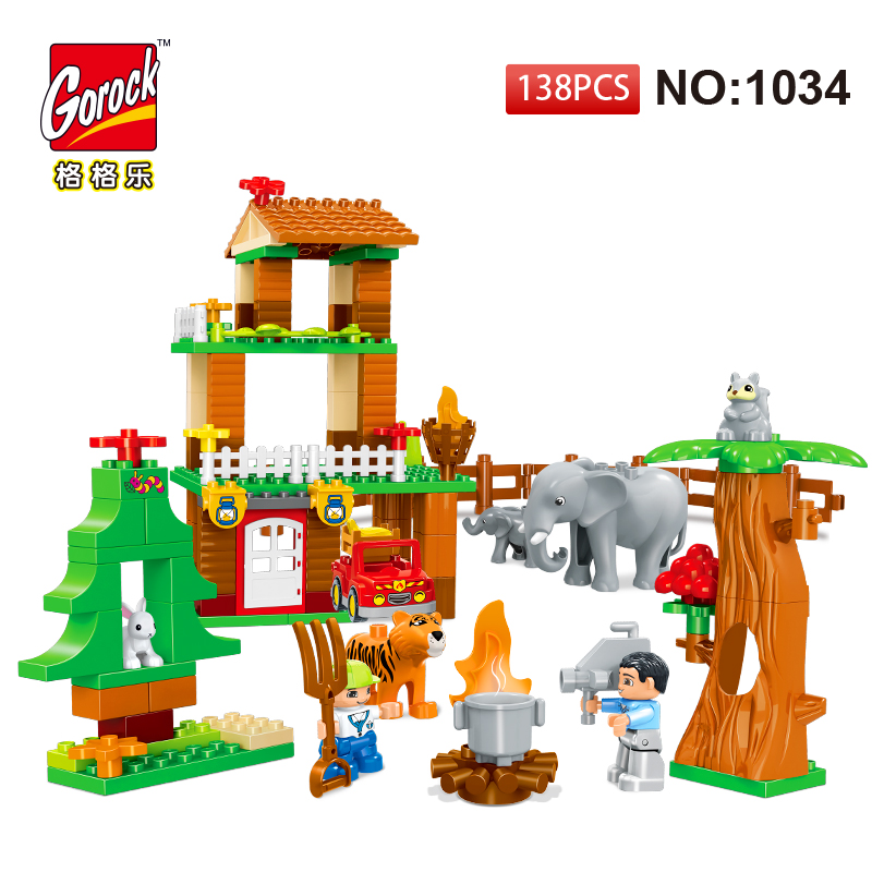 GOROCK 1034 Building Blocks DIY Enlighten Boy Figure Jungle Animal Large Size Bricks Baby Toys Gift Compatible With Duploe Kids 26pcs highway bridge blocks set large train railway building blocks kids diy toys compatible with duploe children gift