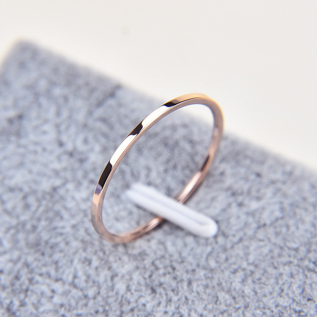 Martick 1MM Thin Stainless Steel Silver-color Couple Ring Simple Fashion Rose Gold Finger Ring For Women Anillos R3