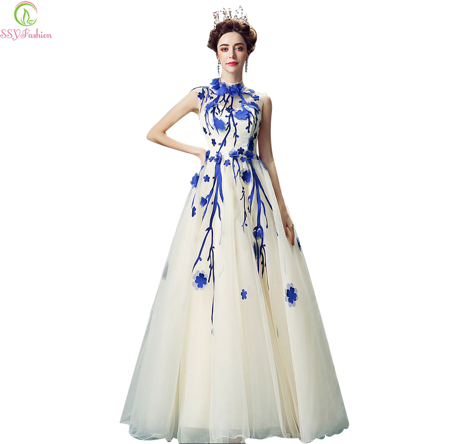 Vestidos 2017 Ssyfashion Blue With White Flower Long Prom Dress