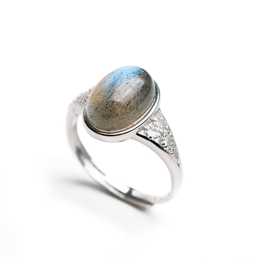 Genuine Natural Labradorite Stone Bead 925 Sterling Silver Women Adjustable Size Engagement Ring 13*8mm virtuality club 60