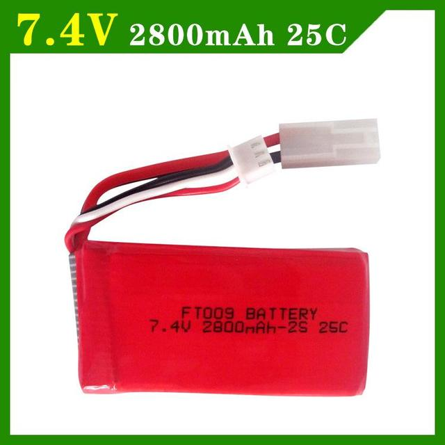Free Shipping Li-po Battery 7.4V 2800mAh 25C FT009 for RC Yacht RC Airplane RC Car Rechargeable with SM-JST-EL 2P-T Plug