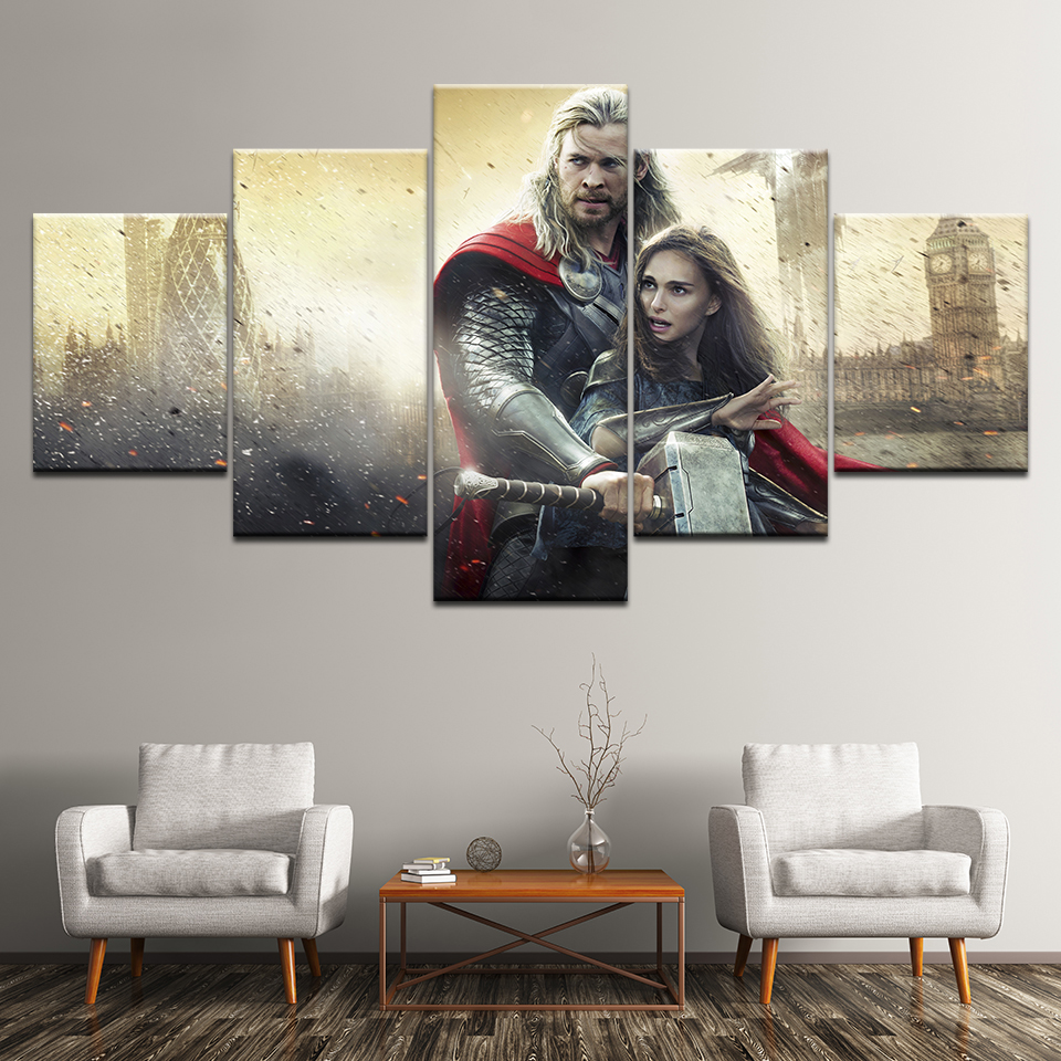Canvas Painting movie Thor: The Dark World (2013)5 Pieces Wall Art Painting Modular Wallpapers Poster Print Home Decor image