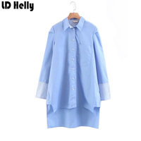 LD Helly Autumn 2017 Women Blue Oversized Blouses Stripe Patchwork Lapel Full Sleeve Long Shirt Female Casual Tops Blusas Mujer