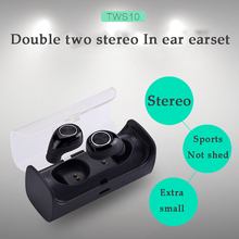 Wholesale Newest TWS 10 twins mini true wireless earphone with MIC bluetooth headsets Stereo earphones with Charging Socket Play Music