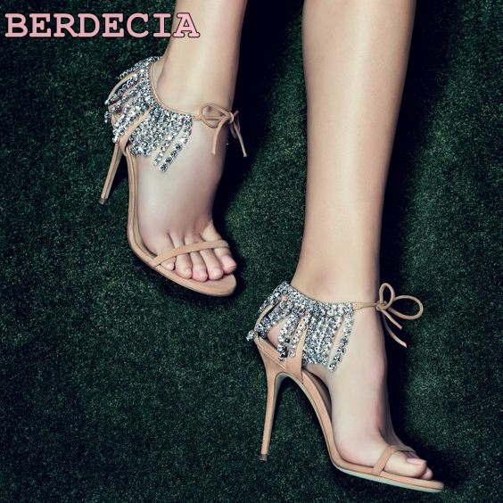 new  bling bling crystal embellished high heel sandals summer sexy open toe lace-up shoes rhinestones fringed woman sandal new fashion big pearls beaded woman flat shoes 2017 sexy open toe sandal crystal embellished slides