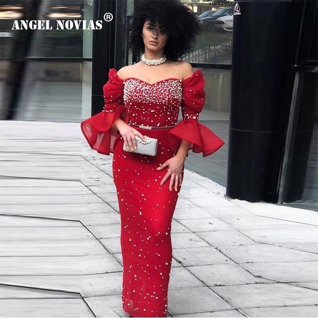 ANGEL NOVIAS Long Abendkleider Red Pearls Arabic Evening Dress 2018 Dubai Formal  Evening Gowns robe de soiree a71af9e4ee5b
