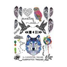 Taty Большие Временные Татуировки Боди-Арт Мужчины Женщины Моды Сова Тату Цветной Бумаги Перья Волк Татуировки Стикер Оптовая(China (Mainland))