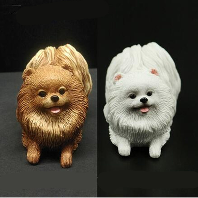 מיני דמות Naugh Pomeranian דוגי מלאכותי לחיות מחמד כלב רכב סטיילינג מאמר דקורטיבי לקישוט חדר בית מאוורר צעצוע מתנה לחג המולד
