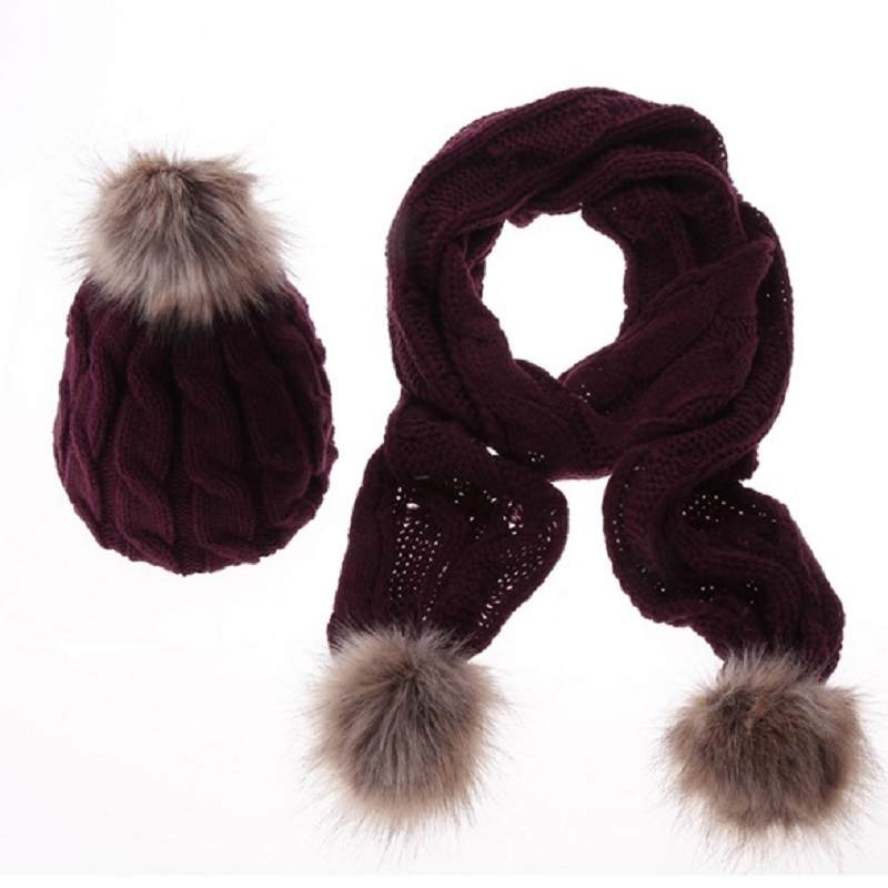 Women Pattern Wool Knit Scarf Hat Set Autumn Winter With Hair Ball 8 Word