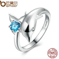 BAMOER Authentic 100 925 Sterling Silver Dolphin S Love Blue Crystal Finger Ring For Women Fashion