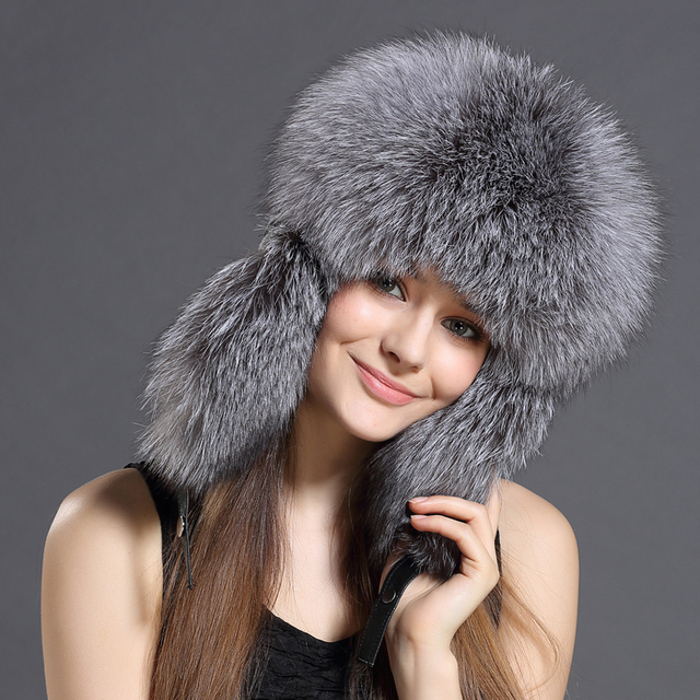 2eb0cd99693 Real Rex fox Fur Bomber Hats Fox Fur Top Winter Solid Real Fur Genuine  Women Fur