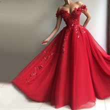 LORIE Red A Line Evening Dress Party Gowns Off The Shoulder Formal Prom Dresses Plunging 3D Flowers Beading Top