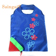 Top High quality  Simple New Simple Strawberry Fruit Green Folding Convenience Shopping Bag drop shipping Oct18