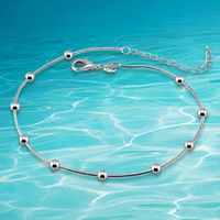 beautiful pretty lovely Free shipping 925 silver anklet,Lucky bead, contracted small round bead chains .high quality,fashion