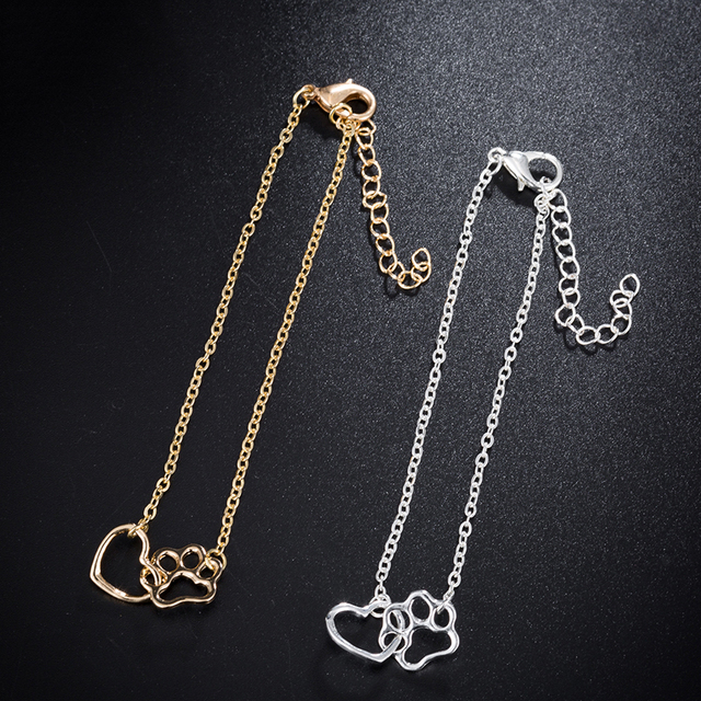 Gift For Her-Cute Cat Paw Print Silver Gold Color Charm Bracelets 3