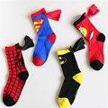 1 UNIDS super helo 4-6 niños calcetines capa de Superman batman flash en niños y niñas calcetines de baile partido de cosplay calcetines MS0103