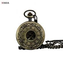Nobda bronze reloj de bolsillo papá givt pulsera mecánico automático relojes de bolsillo 2017
