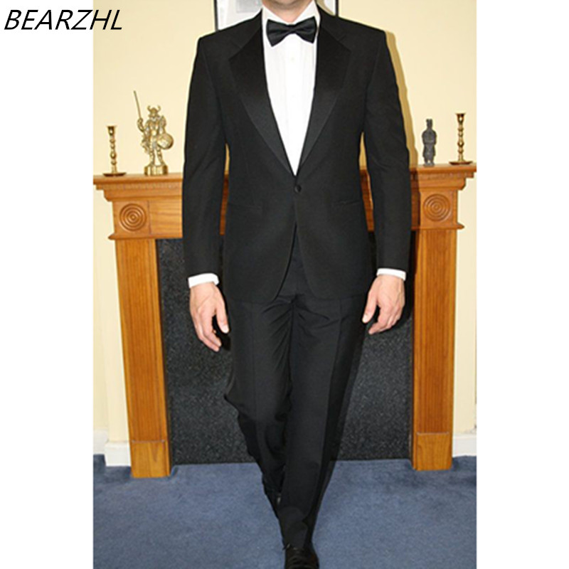 wedding dress slim groom suits black for 2017 custom made suits men tuxedo for dinner notch collar