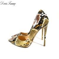 DorisFanny Schlange Gedruckt Sexy stilettos high heels Damen Schuhe 2016 Spitz Partei Abschlussball Frauen Pumpen größe 11 13 42