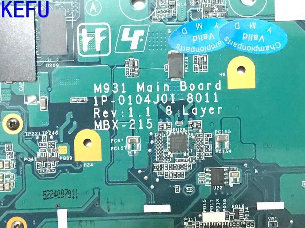 KEFU NEW MBX-215 M931 (m930 ) FREE SHIPPING LAPTOP MOTHERBORD For Sony VPCF11 SERIES Notebook pc MAIN BOARD COMAPRE PLEASE mbx 224 m960 laptop motherboard suitable for sony vpceb notebook pc mainboard a1771575a a1771577a hm55 available new