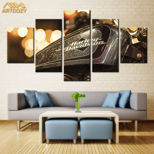 Artcozy 5 Panel Modern Cool Harley Davidson Motocycle Wall Art Painting  Canvas Painting For Living Room