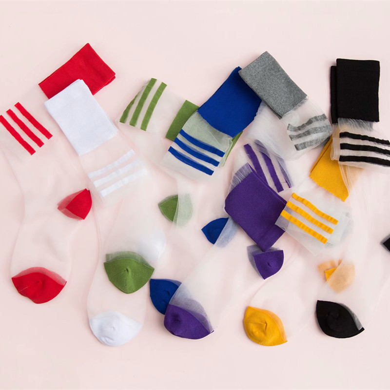 Transparent Thin Striped Glass Wire Pile Stocking 2019 New Summer Spring Autumn Female Fashion Card Stockings And Knee Socks