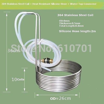 8.8M Stainless Steel Coil Cooler Wort Immersion Chiller Beer Brewing Equipment цена