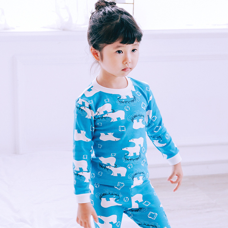 Muslinlife Girls Boys Christmas Pajamas Blue Pattern Polar Bear Kids 1 6T  Pajamas Soft Cotton Toddler Clothes Sleepwear Autumn-in Clothing Sets from  Mother ... 95890193f