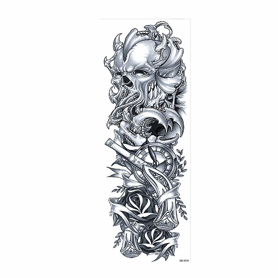 0fda0ab9d 1 Sheet Big Large Full Arm Tattoo Sticker Skull Rose Flower Pattern Design  Temporary Leg Body