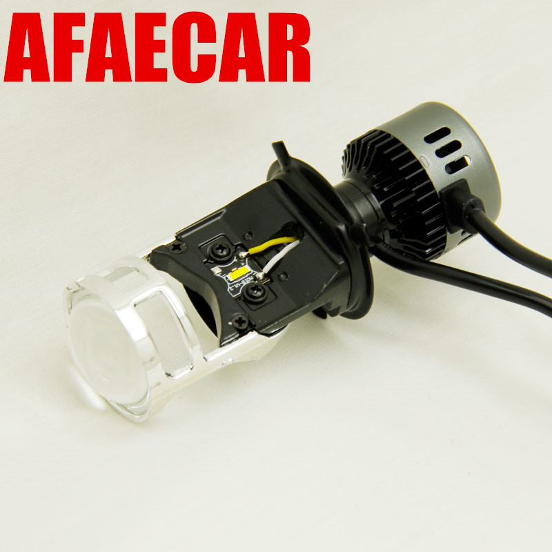 AFAECAR 2pcs 35w h4 motorbike high low beam H4 led headlight with mini lens projector for car motorcyle