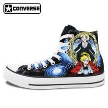 Fullmetal Alchemist Converse All Star de Los Hombres de Las Mujeres Zapatos de Diseño Animado Pintado A Mano Zapatos de Lona Del Top Del Alto Zapatillas de Deporte Hombre Mujer Cosplay