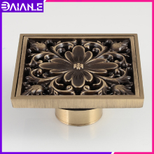 Bathroom Floor Drain Cover Square Antique Brass Toilet Shower Drainer Filter Anti-odor European Tile Insert Floor Waste Grates цена 2017