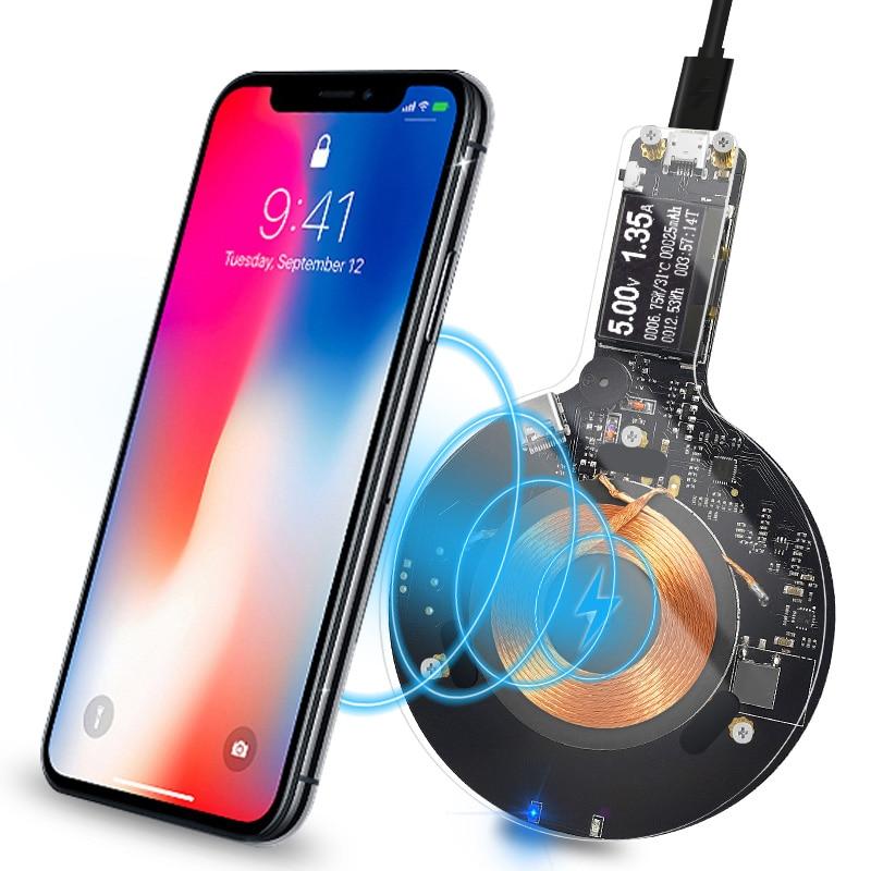 Atorch携帯電話の充電器チーワイヤレス充電器iphone 8 x 8プラスサムスンギャラクシーS 8 S 9 S7 usb高速充電器液晶テスター表示携帯電話
