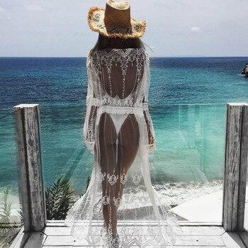 2018 Womens Summer Lace Crochet Bikini Cover Up Print Beach Top Caidigan Beach Swimsuit Cover Up Beach Dress 1