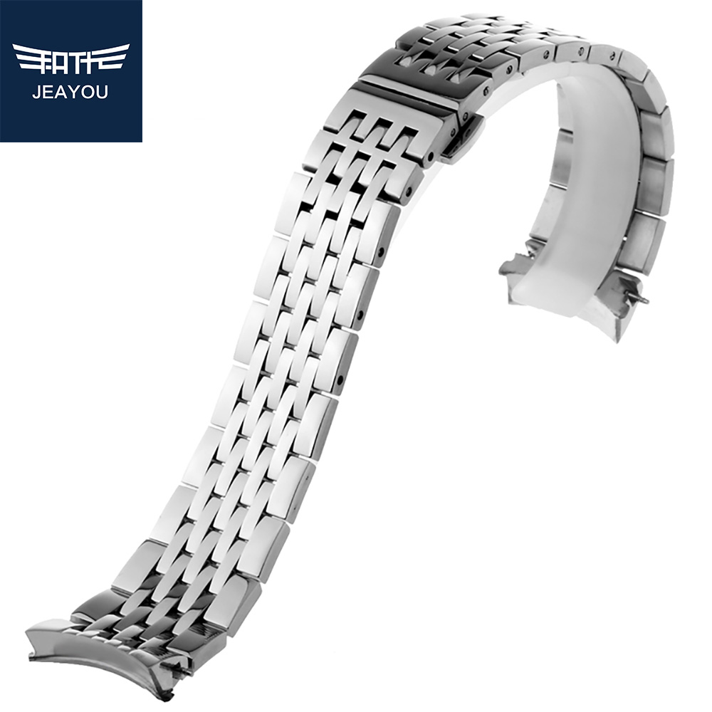 JEAYOU Men Stainless Steel Watch Strap Only For Tissot T41 With Deployment Clasp With Double-Push Button 19mm men double button plain blouse