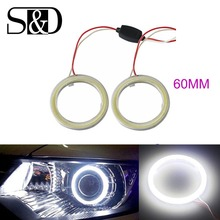 цена на 2pcs White 60MM Angel Eyes COB Car LED DRL Daytime Running Headlight Halo Ring Driving  Lamp Auto Bulb with Cover 72 Chips 12V