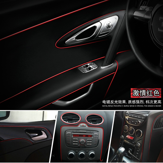 8 Meters Red Universal Car Styling Flexible Trim For Car Interior