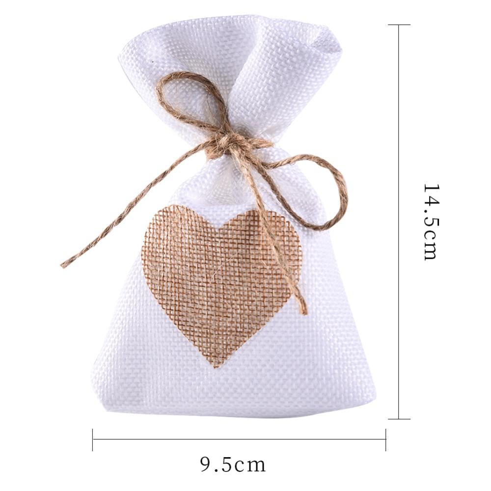 12Pcs/Set Fashion White Linen Drawstring Wedding Favor Bags Pouch ...