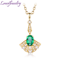 Luxury 14K Yellow Gold Colombia Emerald Pendant Necklace Natural Diamond Fine Jewelry Party Gift For Women