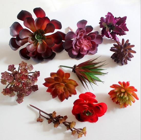 amenmo red color large size simulation succulents artificial flowers