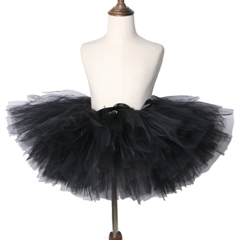 Falda tutú negra de niña hecha a mano mullida niños falda de tul niñas danza Ballet Pettiskirt tutú bebé niños cumpleaños fiesta falda