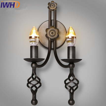 IWHD Wandlamp Iron Retro Loft Wall Lamp LED Vintage Industrial Wall Sconces Wall Light 2 Heads Candle Arandelas Para Parede ...