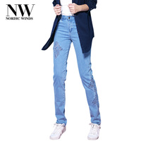NordicWinds High Waisted Stretch Mom Jeans Skinny With Embroidery Boyfriend Jeans Denim Pencil Ladies Casual Trousers
