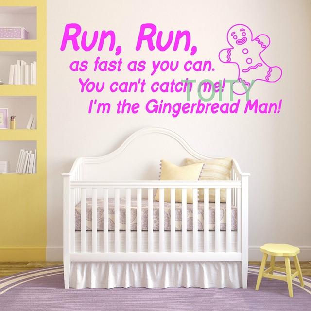 Gingerbread Man Nursery Rhyme Wall Decal Vinyl Sticker Art Decor Baby Bedroom Design Mural H57cm X