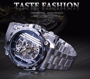 Image 2 - Forsining Militaire Sport Ontwerp Transparant Skeleton Dial Zilver Rvs Heren Horloges Top Brand Luxe Automatische Horloges