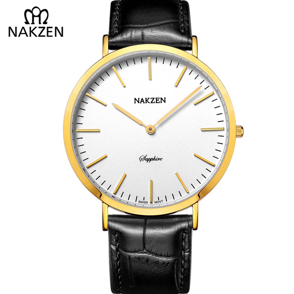 NAKZEN Quartz Watches Mens Simple Dress Ultra Thin Big Surface Male Wristwatch Genuine Leather Men Watch Gift Relogio Masculino unique handmade natural bamboo wood watch analog mens simple quartz wristwatch male genuine leather relogio masculino esportivo