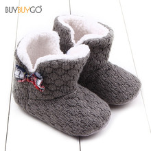 Newborn Baby Shoes Gray Knitted Butterfly-knot Hook & Loop Cotton Baby Boy Girl First Walkers Shoes Toddler Infant Winter Boots