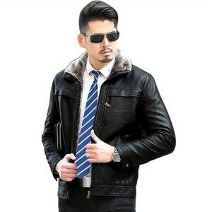 Image 5 - Inverno Caldo di Spessore Uomini Cappotto di pelliccia collare Giubbotti e cappotti marchio di abbigliamento jaqueta masculino inverno della tuta sportiva di cuoio Giubbotti parka
