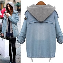 Hooded Drawstring Jean Pockets Two Piece Coat Long Sleeve Single Breasted Denim Jacket Autumn Casual Coat Outerwear